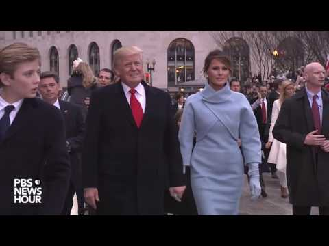 Trump family waves to the crowd during Inauguration Day 2017 parade