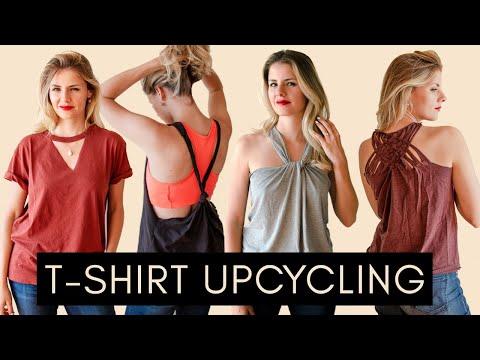 4 einfache UPCYCLING Ideen für SOMMER-SHIRTS und Gym-Tops aus alten T-Shirts ❤️ THRIFT FLIP
