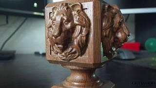 Видео - Резное навершие лев на столб nav-Lion