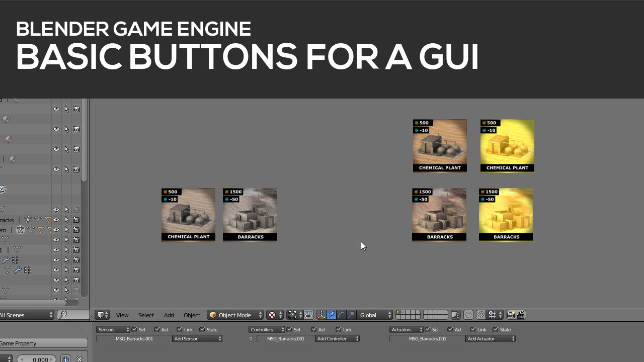 Basic Buttons for a GUI in Blender's Game Engine [Tutorial]  1/2