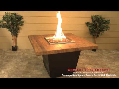 Square Cosmopolitan French Barrel Oak Firetable