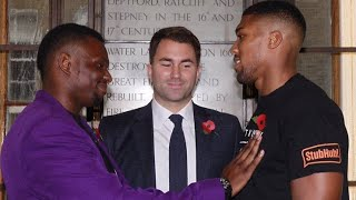 ANTHONY JOSHUA & DILLIAN WHYTE EXCHANGE VERBALS AT FIRST EVER HEAD TO HEAD (INTENSE!)