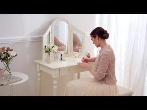 Tavolo per cosmetici tavolino da trucco con sgabello specchiera
