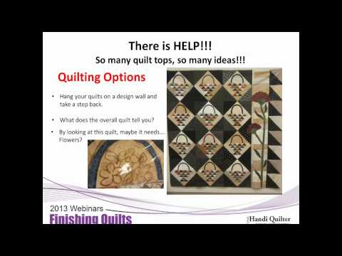 Handi Quilter Webinar - Finishing More Quilts Jan 2013