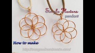 Flower Pendant - Nature Jewelry Set - Easy Jewelry Making From Copper Wire 393