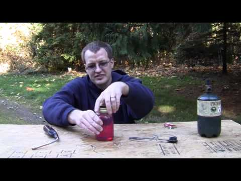 Guy shows the actual flammability of some fuels