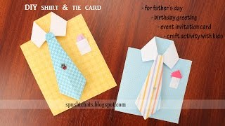 Shirt & Tie Card for Father's Day, Birthday   DIY Handmade Fathers Day Greeting Card Ideas