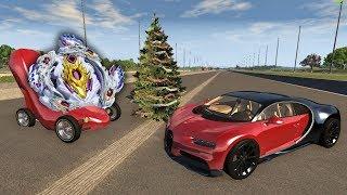 Кто проедет новогоднюю полосу препятствий? Гонка - Эстафета с Бейблэйдами! Мультики про машинки.