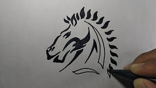 MantuL, Menggambar Tato Kuda | How To Draw Horse Tattoo Simple Step By Step