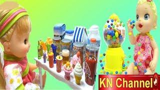 KN Channel GIÁO DỤC MẦM NON | BABY ALIVE DOLL ĐI SIÊU THỊ & MÁY KẸO CHOCOLATE M&M CANDY