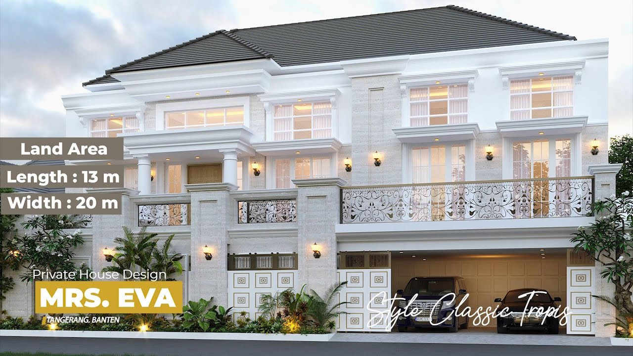 Video 3D Desain Rumah Classic 3 Lantai Mrs. E di Tangerang, Banten