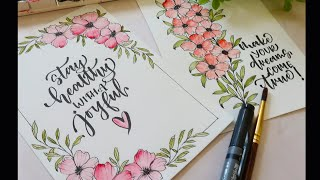 Drawing Easy flower doodle Cards|Watercolors|Brush Pen Calligraphy|Easy Watercolor Painting Tutorial
