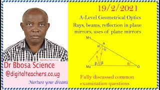 Reflection in plane mirrors revision questions A level