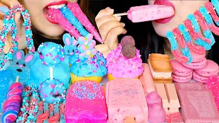 ASMR COTTON CANDY CAKE POP, CUPCAKES, ICE CREAM BARS, NERDS ROPE, JELLY, MACARON, GUMMY CANDY WORM먹방