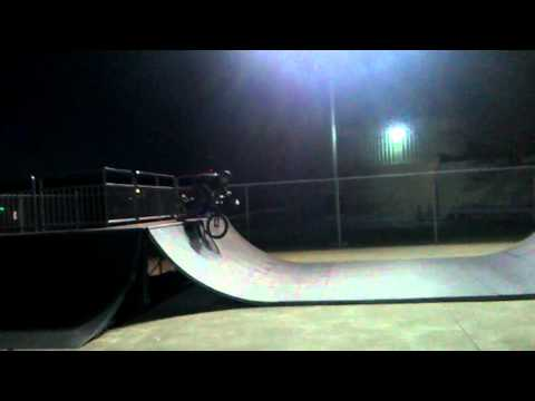 riding half pipe at Dubois park