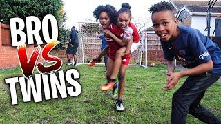 BRO vs TWIN SISTERS *IMPOSSIBLE* GARDEN FOOTBALL CHALLENGE Part 2