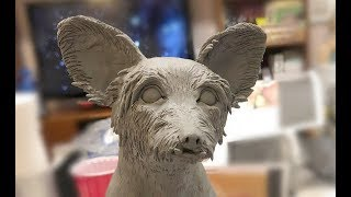 Making An Animal - Dog In Wet Clay. Sculpture By Artsy Soul Edrian Thomidis