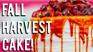 How To Make A FALL HARVEST CAKE! Carrot cake, caramel, cinnamon buttercream and sautéed fruit!