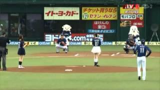 加藤英美里さんと福原香織さんの始球式