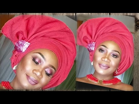 BRIDAL INSPIRED FAN GELE TUTORIAL/Black and Shine