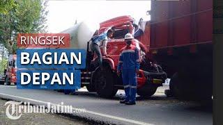 Kecelakaan antara Truk Tangki Pertamina vs Truk Muaan Pasir di Sampang, Bagian Depan Ringksek