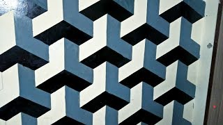 How To Paint ''ALMOST PERFECT''cubic Pattren On Wall 3D By Mr N