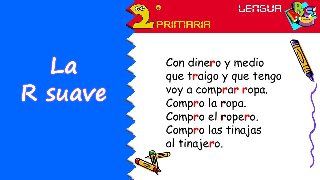 Lengua, 2º Primaria. Tema 8. Ortografía: r suave