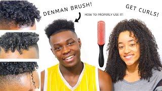 DENMAN BRUSH CURLY HAIR TUTORIAL FOR BLACK MEN! | SHORT HAIR!