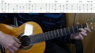 Подмосковные вечера на гитаре - мелодия с басом + табы - Midnight in Moscow - guitar + tabs