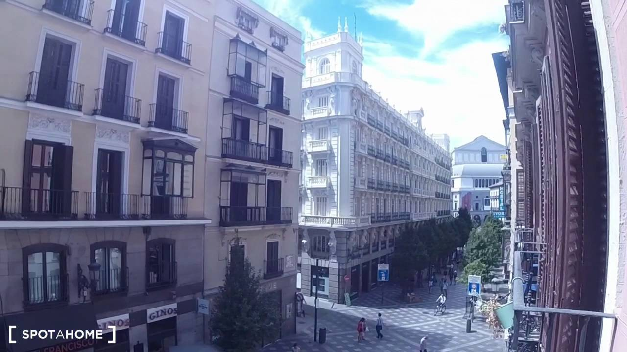 Big room with independent key in 10-bedroom apartment, Puerta del Sol