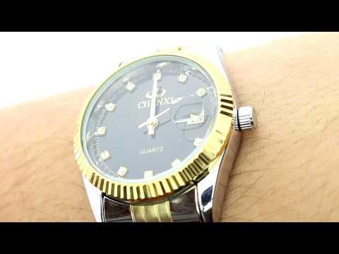 Unboxing XLORDX Herren Armbanduhr, Business Casual Analog Quarz Datum Gold Uhr mit Edelstahl Armband