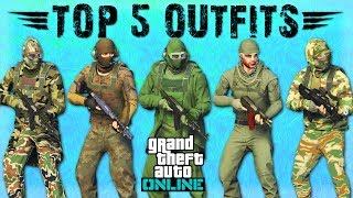 GTA 5 ONLINE - TOP 5 MILITARY CAMO OUTFITS (BEST MILITARY OUTFITS IN GTA 5)