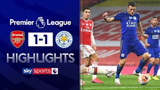 SUBSCRIBE ► http://bit.ly/SSFootballSub PREMIER LEAGUE HIGHLIGHTS ► http://bit.ly/SkySportsPLHighlights Highlights from the Emirates Stadium as Jamie Vardy scored late for Leicester following Eddie Nketiah's red card to share the spoils between Arsenal & Leicester.   Watch Premier League LIVE on Sky Sports here ► http://bit.ly/WatchSkyPL ►TWITTER: https://twitter.com/skysportsfootball ►FACEBOOK: http://www.facebook.com/skysports ►WEBSITE: http://www.skysports.com/football  MORE FROM SKY SPORTS ON YOUTUBE: ►SKY SPORTS CRICKET: https://bit.ly/SubscribeSkyCricket ►SKY SPORTS BOXING: http://bit.ly/SSBoxingSub ►SOCCER AM: http://bit.ly/SoccerAMSub ►SKY SPORTS F1: http://bit.ly/SubscribeSkyF1