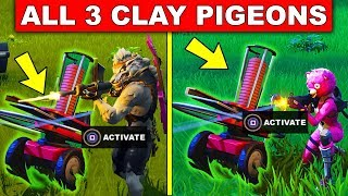 """Get a score of 3 on different Clay Pigeon Shooters"" - ALL 3 LOCATION WEEK 8 CHALLENGES FORTNITE"