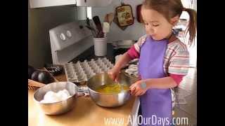 Teaching Kids To Work ~ 3-year-old Making Scrambled Eggs