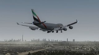 Emirates Skycargo 747-400F landing at Dubai [PMDG FSX HD]