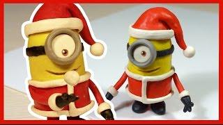 Лепим новогоднего Миньона Санта Клауса из пластилина. Minion made of plasticine.