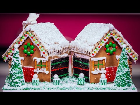 How To Make A Gingerbread House CAKE with chocolate