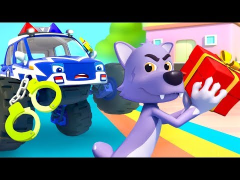 police truck chases big bad wolf police cartoon nursery rhym