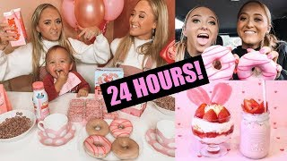 WE only ate PINK food for 24 HOURS challenge!!!