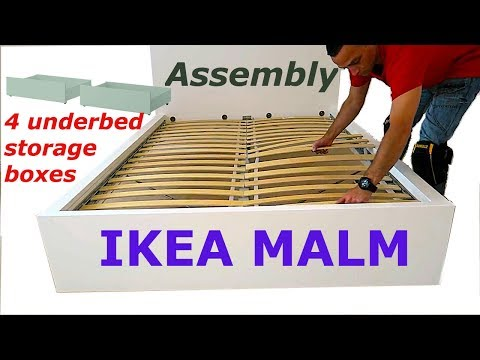 Ikea MALM Bed frame assembly with 4 storage boxes White/luröy