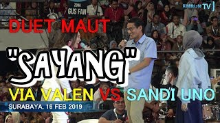 Download Video DUET MAUT,  LAGU SAYANG VIA VALLEN VS SANDIAGA UNO MP3 3GP MP4