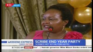 Journalists meet for annual Scribes End-Year Party, Waiguru 'shakes hands' with them