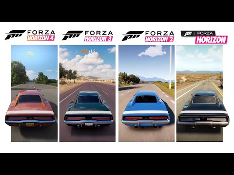 Forza Horizon 4 Vs Older Forza Horizons | Dodge Charger R/T Gameplay & Sound Comparison