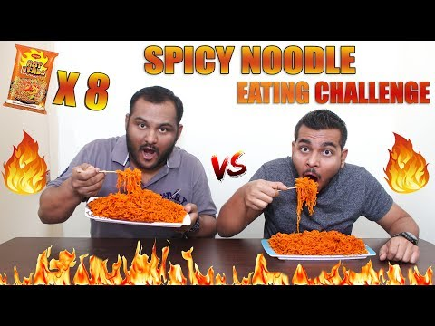 EXTREME SPICY NOODLE EATING COMPETITION   Hot Head Maggi Eating Challenge   Food Challenge