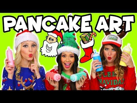 Christmas Pancake Art Holiday Challenge. Totally TV
