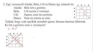 [2001.10.8.] 2) Szöveges logikai feladat, esetszétválasztás