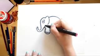 Como desenhar um Elefante - desenhos para crianças