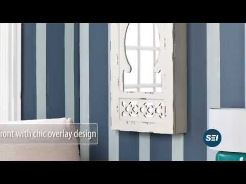 Video for Gilmore Antique White Wall Mount Jewelry Mirror