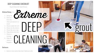 DEEP CLEANING CHECKLIST FOR HOUSE | BEST GROUT CLEANER FOR KITCHEN FLOORS | CLEAN WITH ME | MOMBOSS
